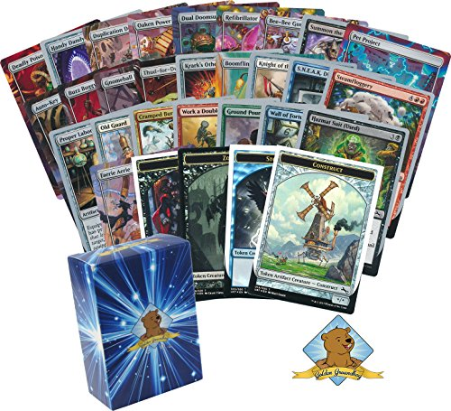 100 Magic The Gathering Cards – All Unstable! Common Uncommon Rares Foil Token Cards And 1 Mythic Rare! Includes Random Spindown! Comes In Golden Groundhog Deck Box!