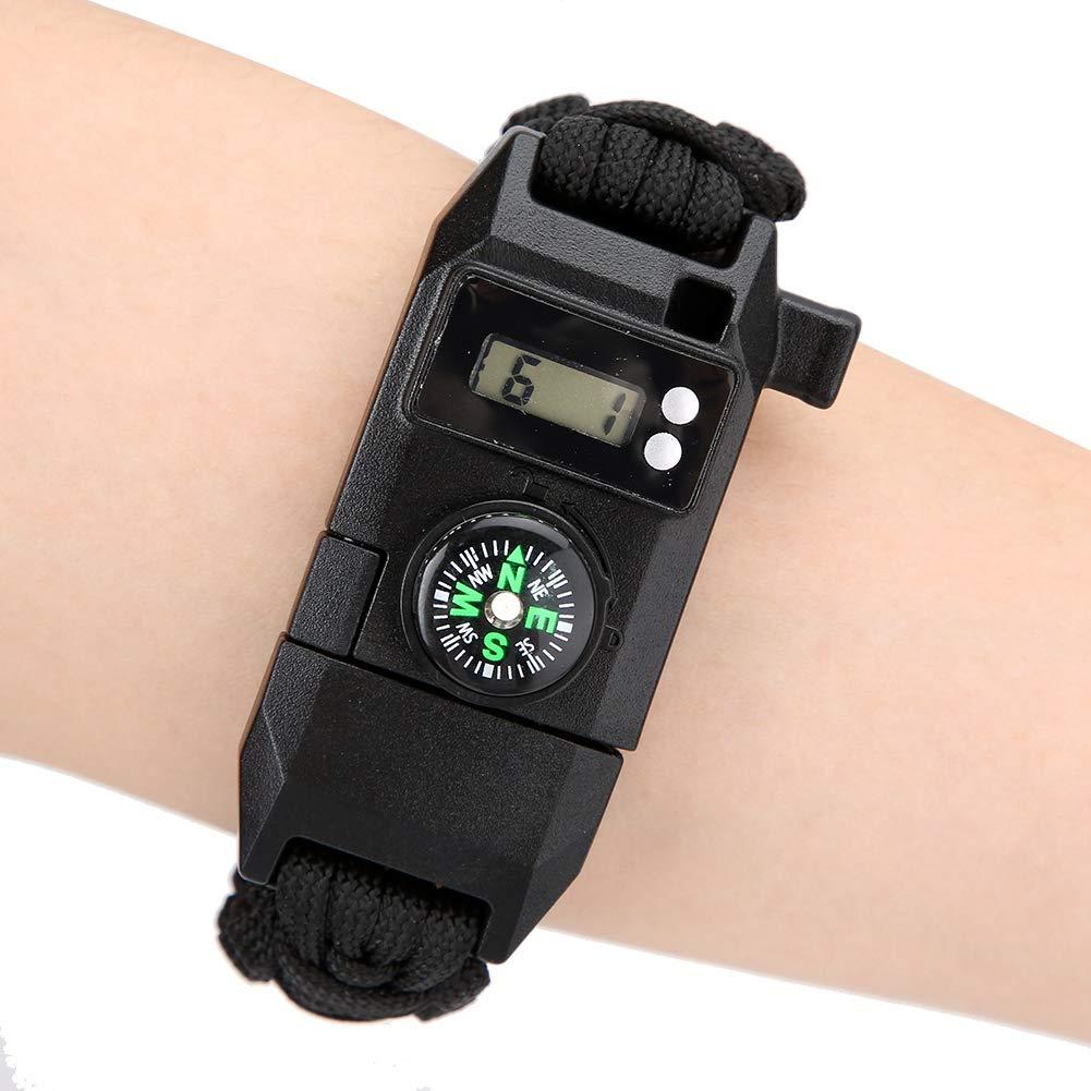 La pulsera impermeable multifuncional al aire libre de la supervivencia emergencia de SOS con el silbido del comp/ás llev/ó la pulsera ligera