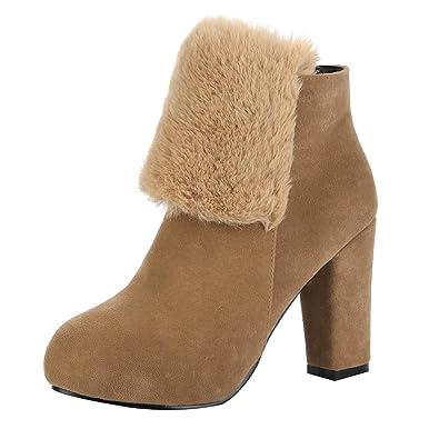 36cb63022eb544 UH Damen Blockabsatz High Heels Stiefeletten mit Gefüttert Plateau Ankle  Boots Warm Schuhe