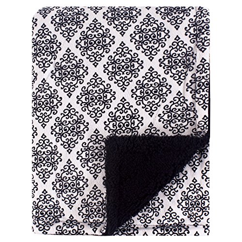 Hudson Baby Mink Blanket with Sherpa Backing, Classic Damask, One -