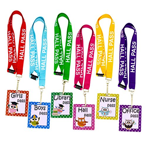 Owl Hall Pass Lanyards and School Passes Set of - Hall Pass