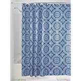 InterDesign Medallion Fabric Shower Curtain, 72 X 72, White/Ink Blue  Contemporary Shower Curtains