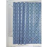 Blue Toile Shower Curtain InterDesign Medallion Fabric Shower Curtain, 72 x 72, White/Ink Blue