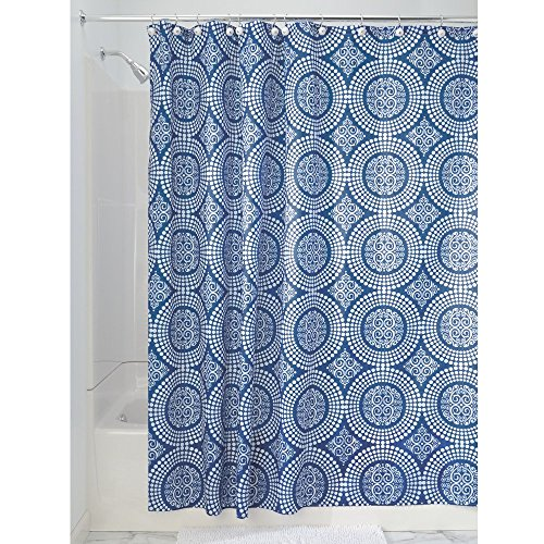 InterDesign Medallion Fabric Shower Curtain, 72 x 72, White/Ink Blue
