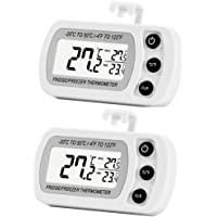 2 Pack Digital Refrigerator Freezer Thermometer,Max/Min Record Function with Large LCD Display