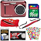KODAK PIXPRO Friendly Zoom FZ43 Digital Camera (Red) with 16GB Card + Monstar Case + Strap + Puffy Stickers + Kit