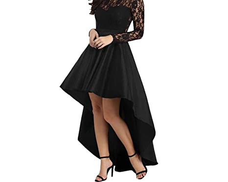 0c259eed377 Cute High Low Satin Lace Floor-Length Long Dress Long Sleeve Maxi Party  Dresses