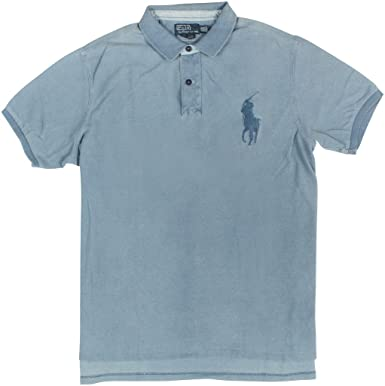 Polo Ralph Lauren Men\u0026#39;s Custom-Fit Indigo Big Pony Polo, White Washed Indigo,
