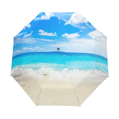 WOZO Dancing Wave Sea Beach 3 Folds Auto Open Close Umbrella