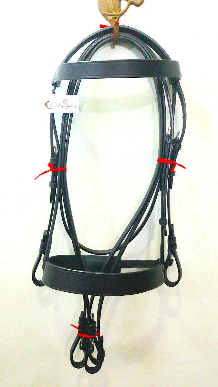 BLACK Cwell Equine PLAIN FLAT HUNT Cavesson Bridle LEATHER Reins