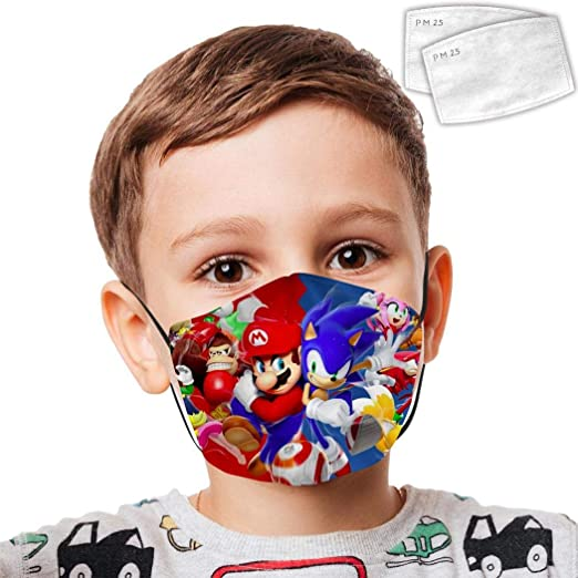 Amazon Com 70btqpza Kids Face Cover Sonic The Hedgehog Face Scarf Bandanas Reusable Cloth Mouth Guard With Filters For Kids Boys Girls Home Kitchen