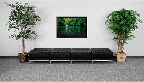 Flash Furniture HERCULES Imagination Series Black LeatherSoft Four Seat Bench