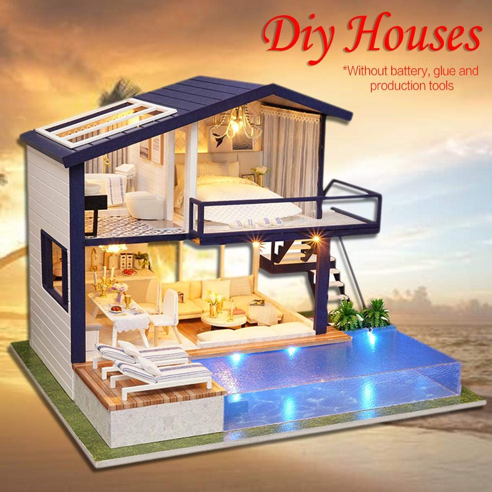 DIY dollhouse,Time Apartment DIY Cottage Hut Small House Doll House Wooden Manual Assembly Home Decoration Holiday Birthday Gift Mothers Day Gift