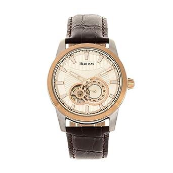 4b675432b Heritor Davidson Men's Automatic Semi-Skeleton Leather Rose Gold Watch  HR8003