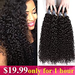 "Amella Hair Brazilian Virgin Curly Hair (14""16""18""20""400g) 4 Bundles Weave 8A 100% Unprocessed Brazilian Virgin Curly Hair Bundles Natural Color Brazilian Kinky Curly Hair Weave Bundles"