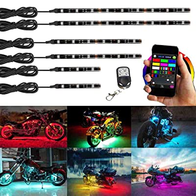 NBWDY Million Color 6pc strip led Motorcycle Cellphone app Bluetooth Controller Motorcycle LED Light Kits with Music Sync for motorcycle,ATV,golf Car: Automotive