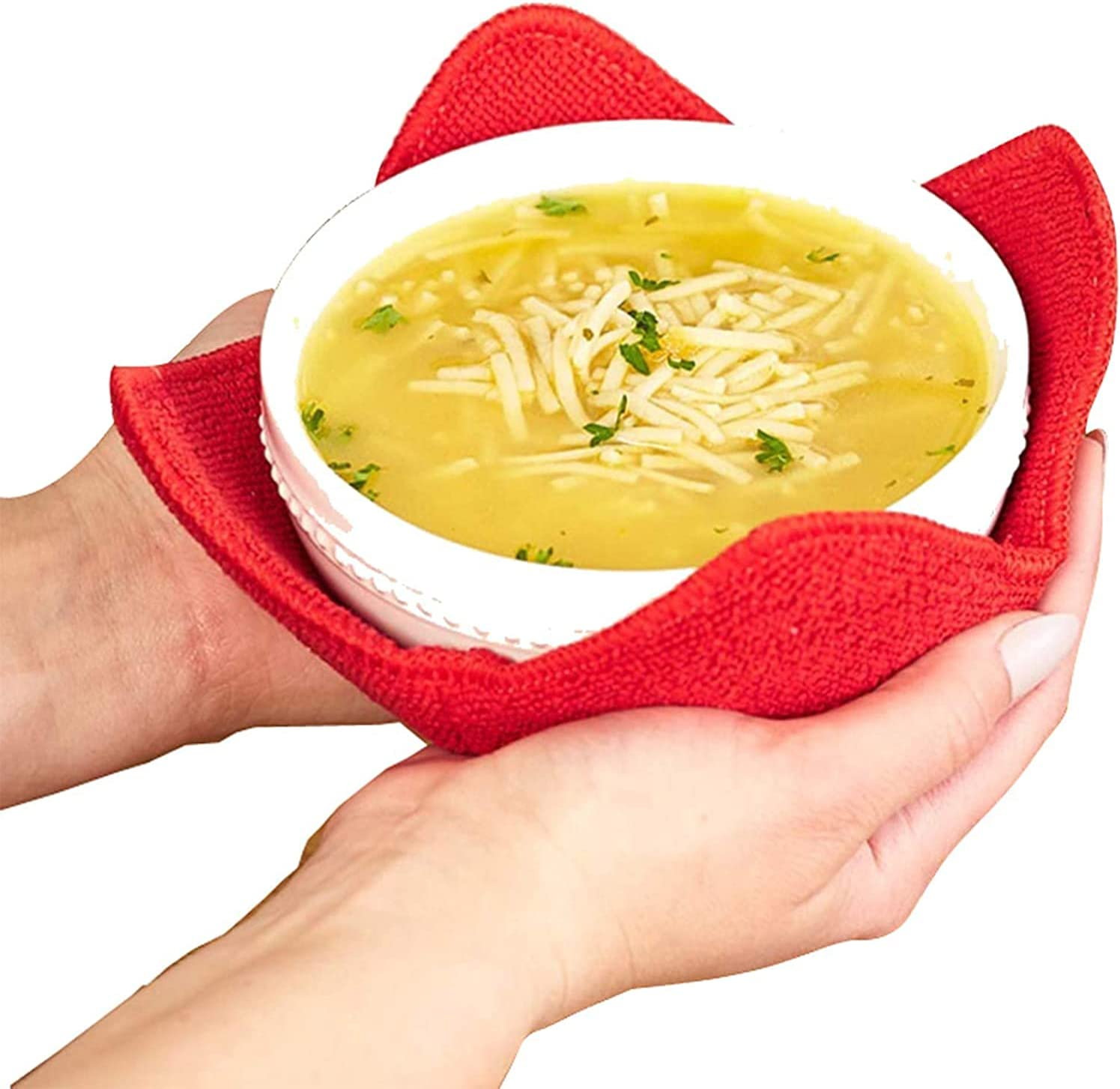 Microwave Bowl Huggers Warmers for Food Microfiber Heat Resistant Food Warmer Set Microwave Safe Handle Hot and Cold Bowls Holder Without Burning Your Hands Set of 4 Microwave Bowl Huggers