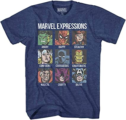 Avengers Expression Moods Spider-Man Hulk Thor Iron Man Black Panther Strange America Mens Adult Graphic Tee T-Shirt