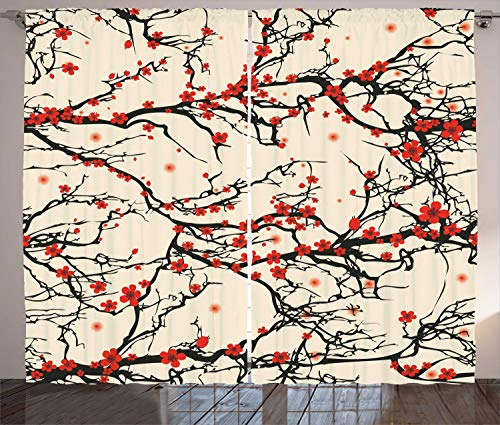 Ambesonne Japanese Curtains, Asian Nature Cherry Blossom Sak