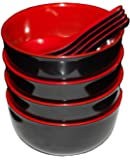 Calvin & Co Set of 4 Small Melamine Miso Soup Cereal Bowls and Spoons - Red and Black 5 inches