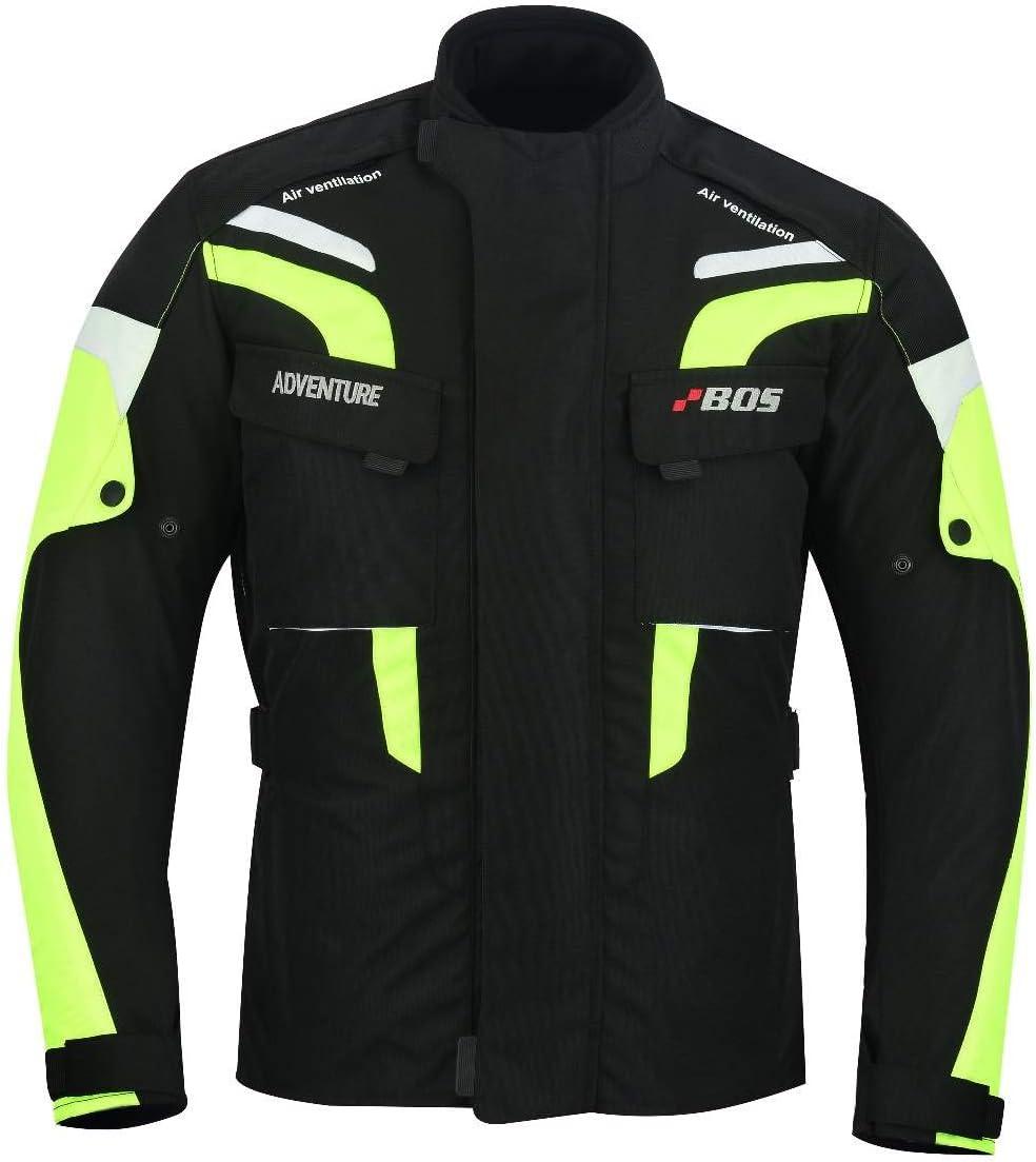 wasserdicht Winddicht Motorrad Jacke Cordura Textil BOSmoto Herren Motorradjacke mit Protektoren und Reflektoren M, Neon