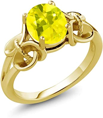 Gem Stone King 1.80 Ct Round Yellow Citrine 18K Rose Gold Plated Silver Mens Ring