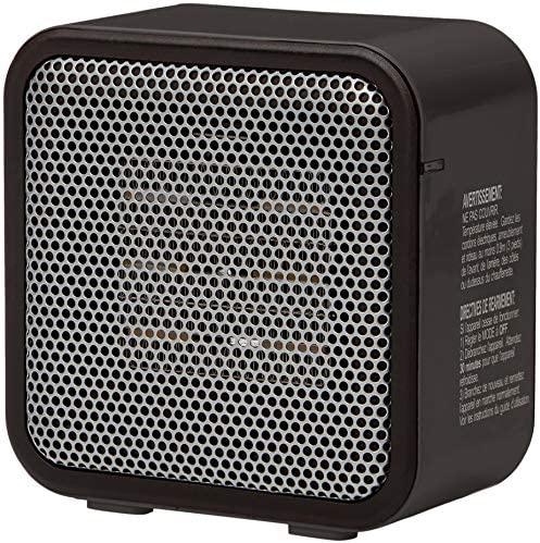 Amazon Basics 500-Watt Ceramic Small Space Personal Mini Heater – Black