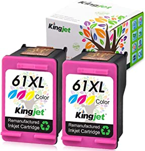 Kingjet Re-Manufactured Replacement for 61, 61XL Ink Cartridges Used in Envy 4500, 5535, Officejet 2620, 4632, Deskjet 1050, 1055, 2510, 2543, 2544, 3512, 3056A, 2546R Printers, (2 Tri-Color)