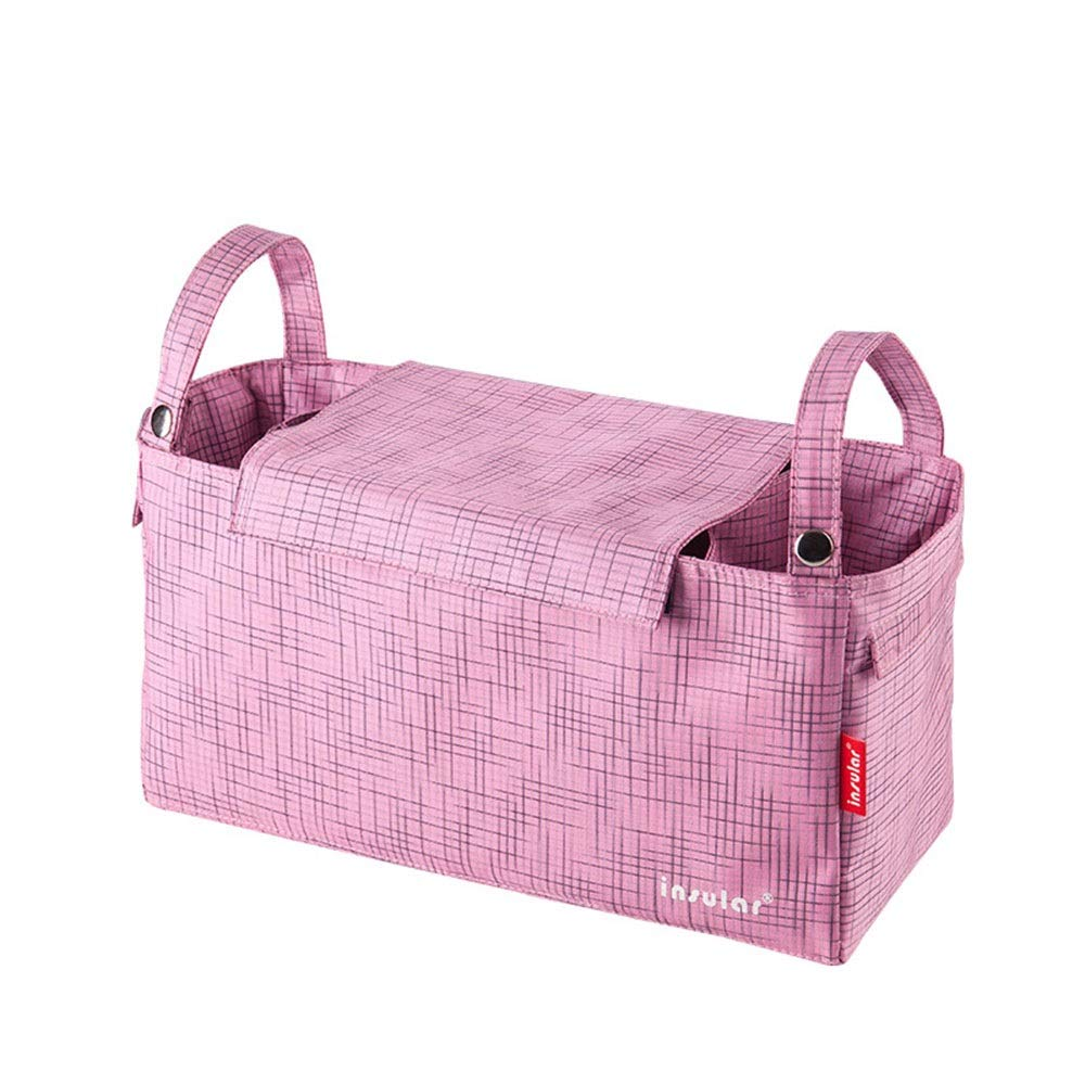 DHUYUN Stroller Organizer Universal Stroller Organizer Bag with Deep Cup Holders with Front Pocket for Cell Phone Parents Stroller Organizer Bag (Color : Pink, Size : Free Size)