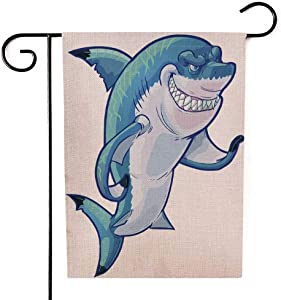 Asdecmoly Modern Garden Flag Boho Garden Flag Decorative Garden Flags Holiday Garden Flags 12.5 X 18 Inches Cartoon Clip Art Tough Mean Smiling Shark Mascot Its Fin The Caustic Lighting Stripes The