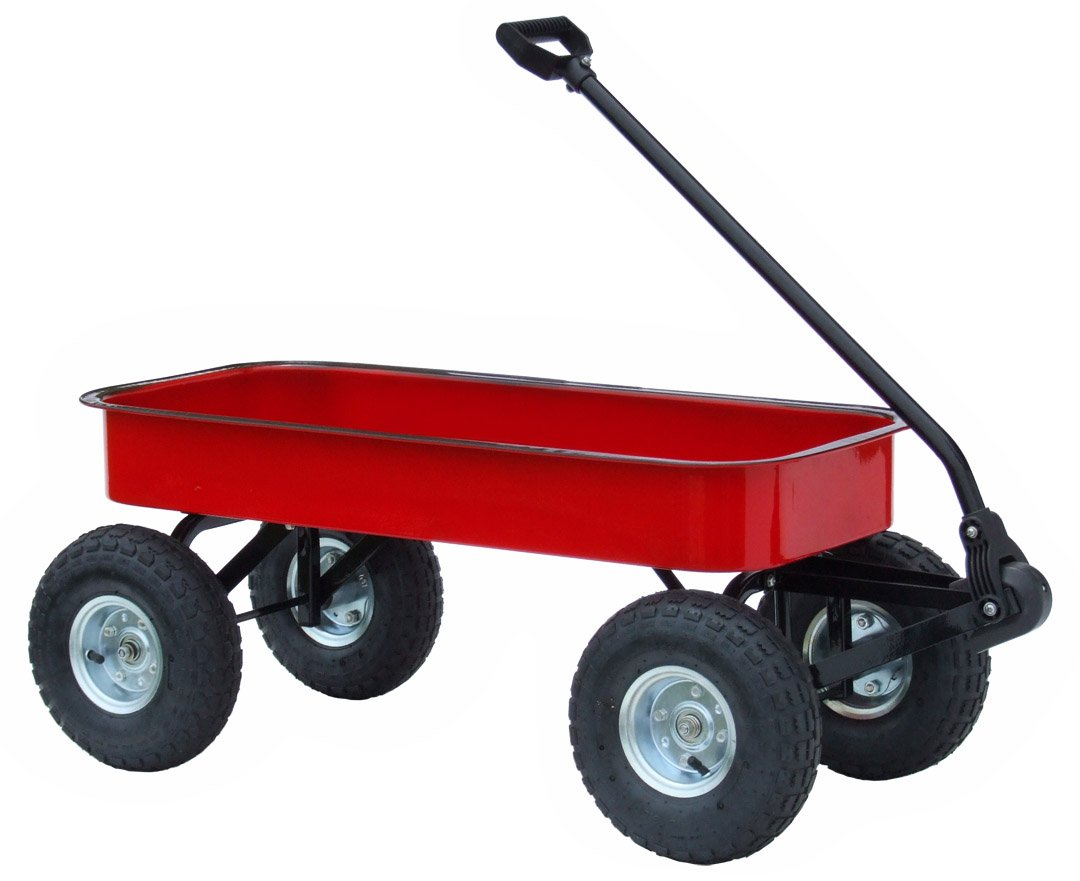 Morgan Cycle Classic Steel Red Wagon with Rubber Air Tires by Morgan Cycle