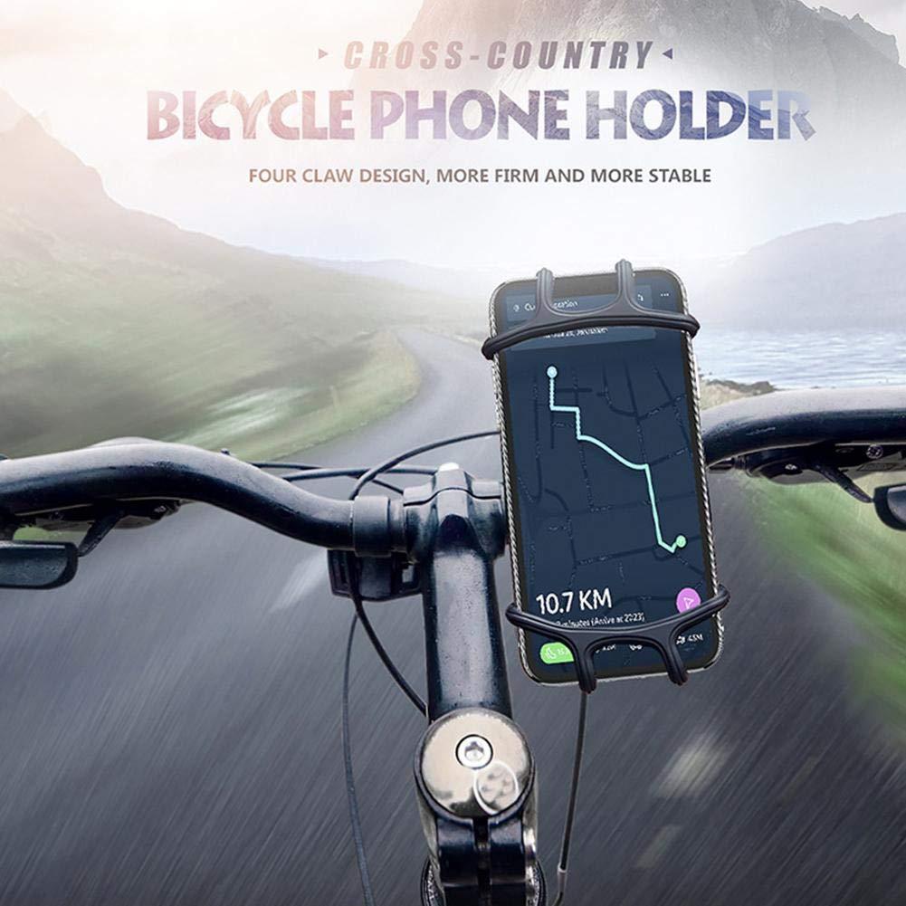 LeKing Fibbia universale per il supporto del telefono cellulare del motociclo della bicicletta della bici con la cinghia estensibile del silicone per lo smartphone