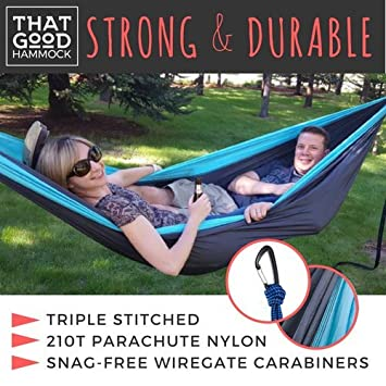 THAT GOOD Hammock Double Camping Hammock w Hammock Straps Wiregate Carabiners. Portable Nylon Parachute Hammock Backpacking Camping Travel Light Grey Apple Green