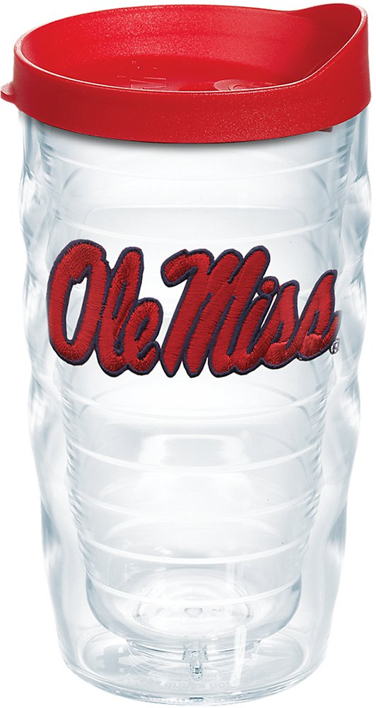 Tervis 1242341 Ole Miss Rebels Logo Insulated Tumbler with Emblem and Red Lid 10oz Wavy Clear