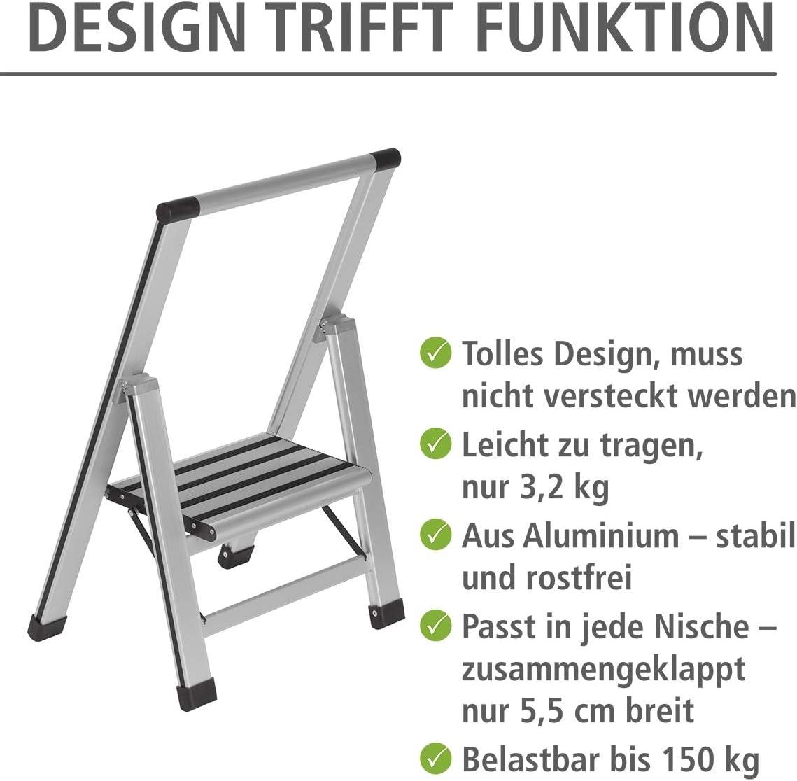 Design Klapptrittleiter mit 44 x 74 x 5,5 cm T/ÜV S/üd zertifiziert WENKO Leichte Aluminium Trittleiter mit 1 Stufe f/ür 25 cm h/öheren Stand wei/ß rutschsichere XXL-Stufen