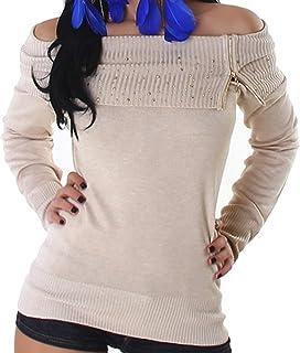 Jela London Damen Feinstrick-Pullover Longsleeve Sweater Carmen-Ausschnitt    Steinchen-Applikation ( 80782f7e4e
