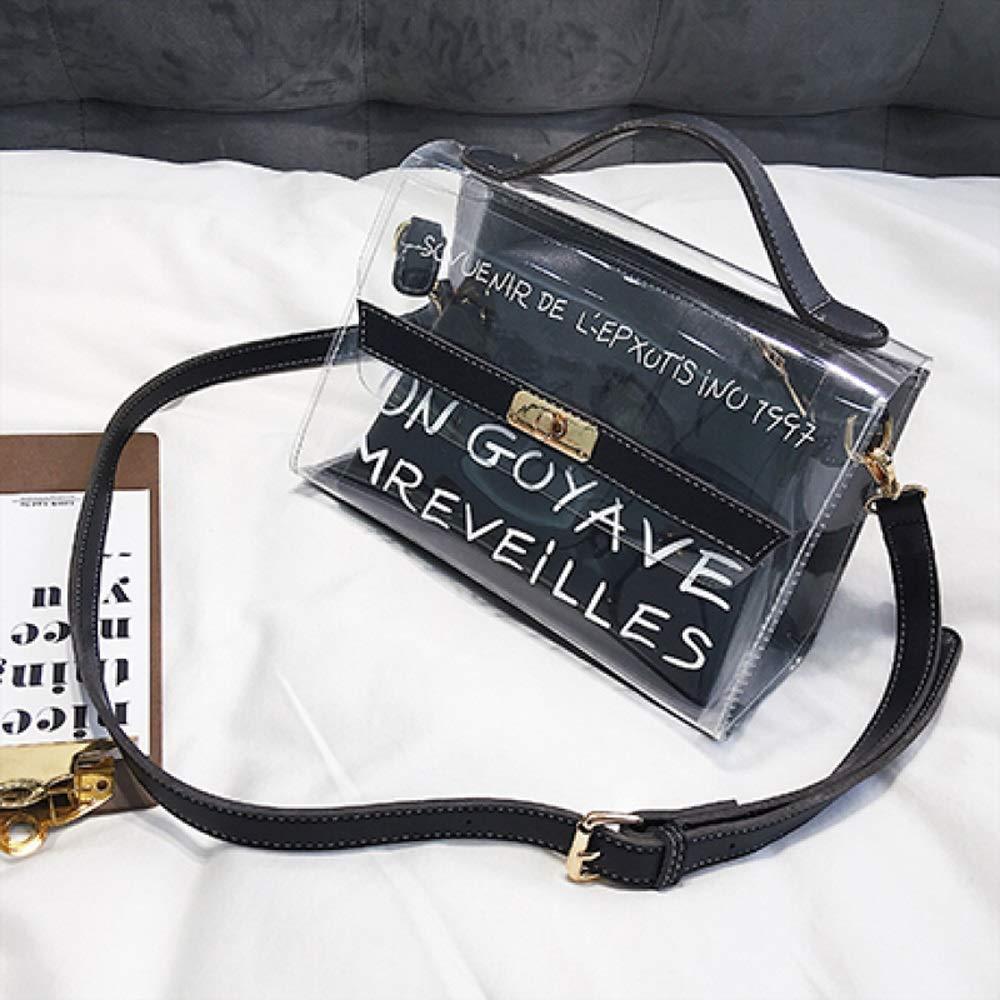 YD ショルダーバッグ - pvc、小さな新鮮な手紙の女の子のハンドバッグ、汎用性の高いショルダーバッグ、シンプルな透明な学生投げレジャーバッグ (色 : ブラック) B07PYVXZ5S ブラック