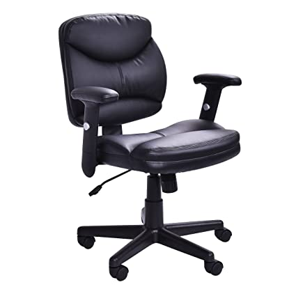 Superbe Officelax Office Chair PU Leather Mid Back Ergonomic Computer Desk Chair  Executive Height Adjustable Modern Task