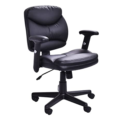 Officelax Office Chair PU Leather Mid Back Ergonomic Computer Desk Chair  Executive Height Adjustable Modern Task