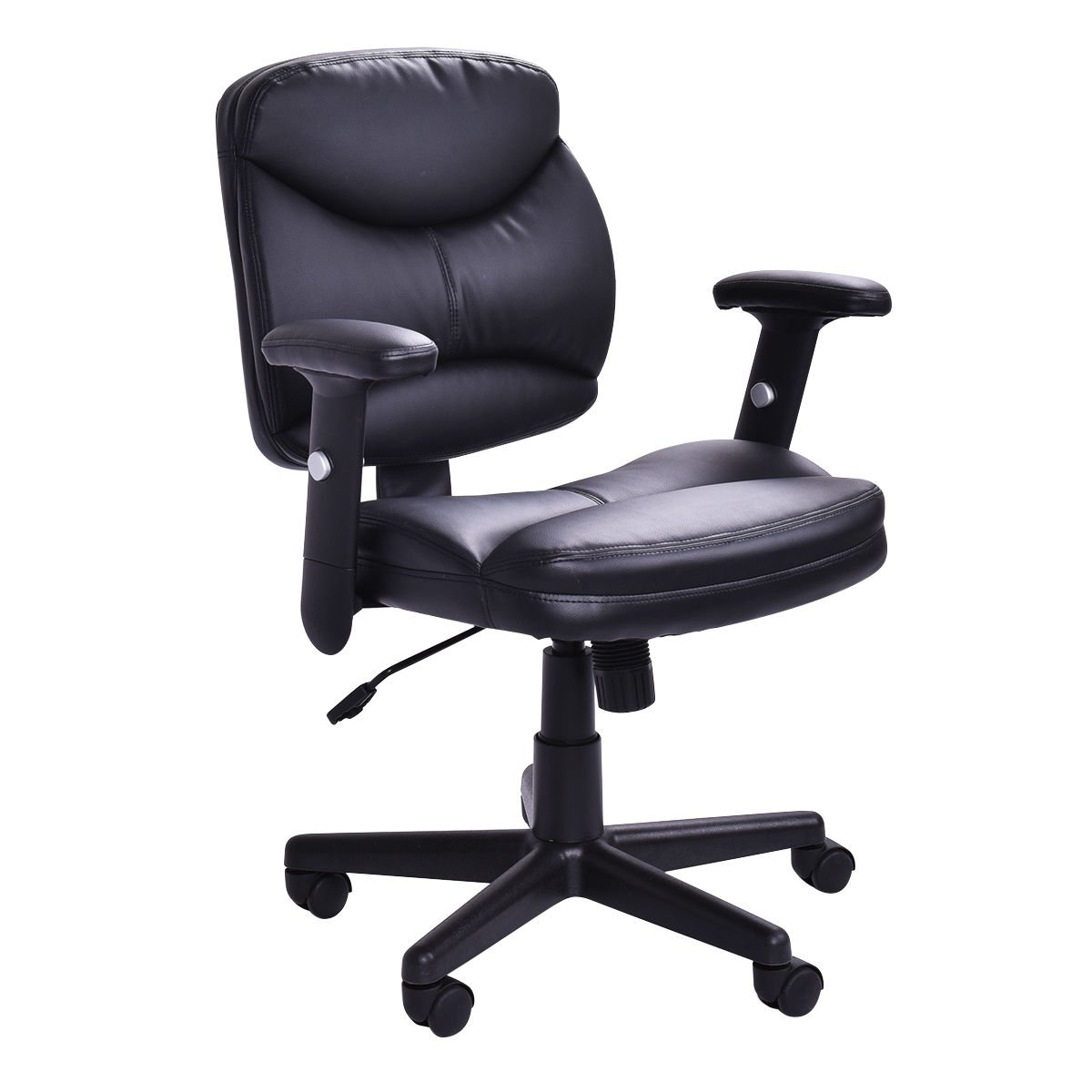 Officelax Office Chair PU Leather Mid Back Ergonomic Computer Desk Chair Executive Height Adjustable Modern Task Chair with Swivel Wheels, Black