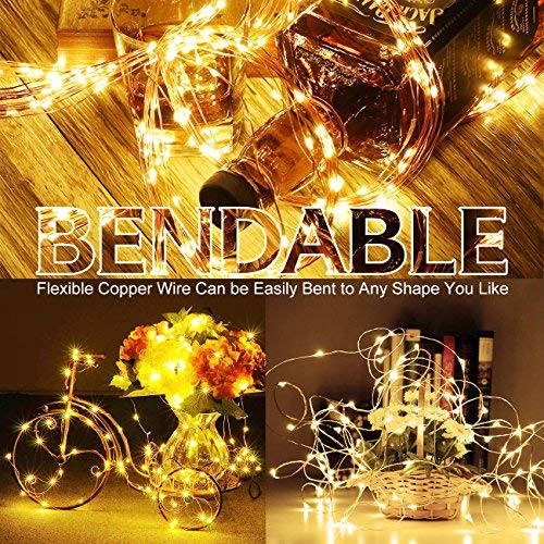 4 Pack 100 LED String Lights Battery Operated Fairy Lights 33ft 2018 Upgraded Waterproof 8 Modes Remote Control Timer Copper Wire Firefly Lights for Patio Bedroom Wedding Christmas Decor Warm White by SHINE HAI (Image #4)