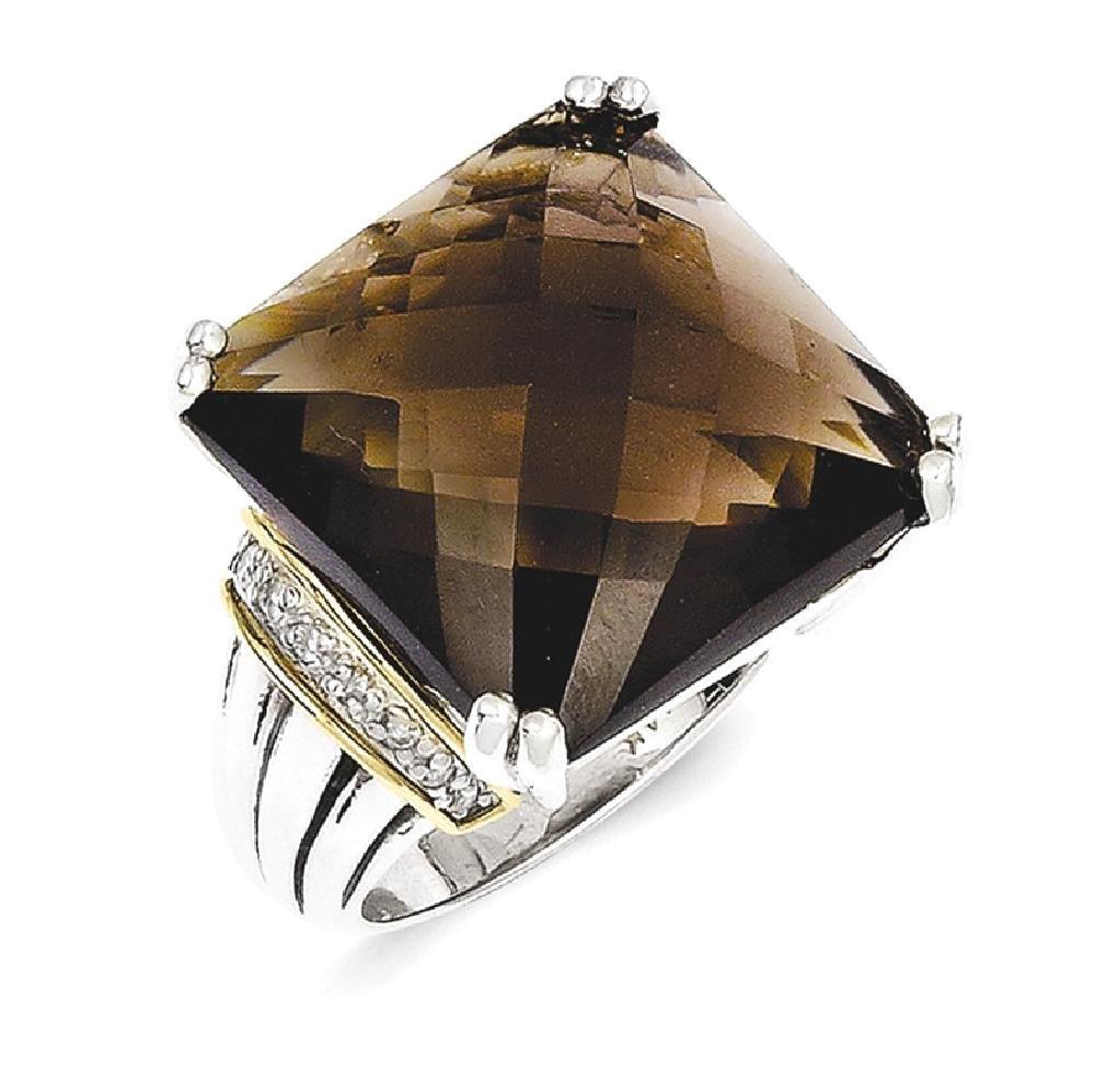 ICE CARATS 925 Sterling Silver 14k Smoky Quartz Diamond Band Ring Size 8.00 Stone Gemstone Fine Jewelry Gift Set For Women Heart