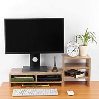 Computer Monitor Stand, 3-Layer Shelf Laptop Monitor Riser Stand Desktop Wooden Storage Organizer for Home Office(Light…