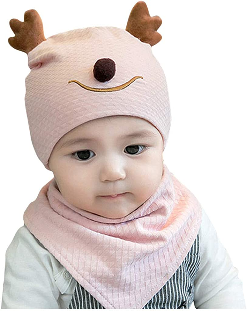 Baby Clothes Set Baby Cartoon Deer Ear Boy Girl Children Lovely Soft Hat+Scarf Two Piece Set