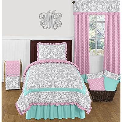 Sweet Jojo Designs Skylar Luxury Turquoise Blue, Pink Polka Dot and Gray Damask 4 Piece Girls Twin Bedding Set: Home & Kitchen