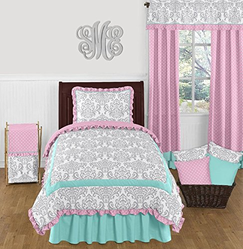 Turquoise Blue, Pink Polka Dot and Gray Damask 4 Piece Girls Twin Bedding Set