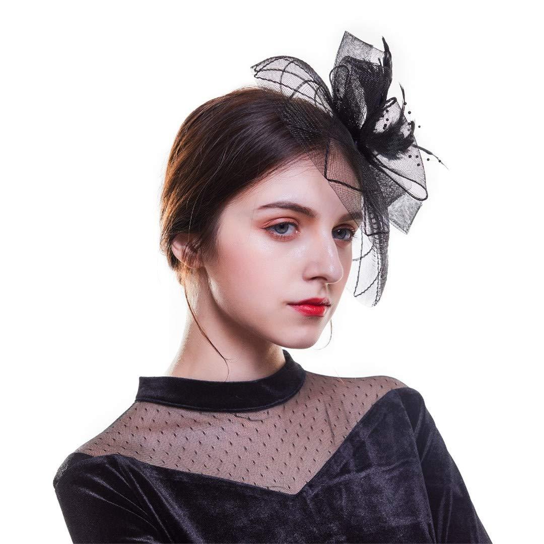 Women Fancy Feather Fascinator Hats Black Birdcage Veil Wedding Hats And Fascinators White Net Hair Accessories Black