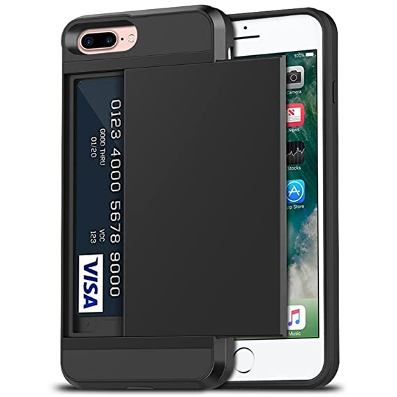 huge selection of 3ab7e d8c3b iPhone 7 Plus Case, iPhone 8 Plus Case, Anuck Shockproof iPhone 7/8 Plus  Wallet Case [Card Pocket][Slide Cover] Anti-Scratch Protective Shell Armor  ...