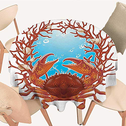 Dragonhome Circular Table Cover Crab Spiral Seashells and Red Coral Frame Aquarium Cockleshell Branch Bubbles Claws Nature for Wedding Banquet, 70 INCH Round ()