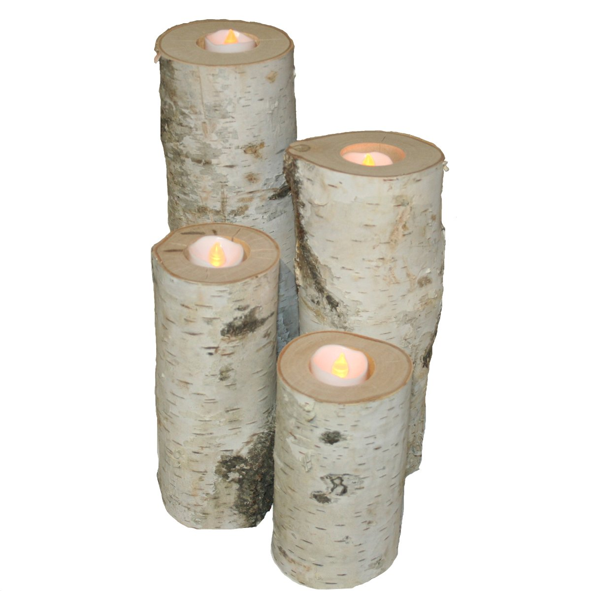 Wilson Enterprises Birch Candle Holders - Set of 4